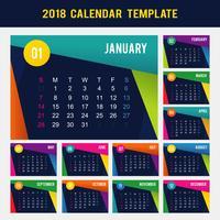Calendrier imprimable 2018 vecteur