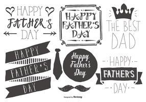Collection d'étiquettes de fête des pères Sketchy mignon