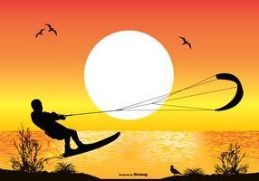 Scène de l'océan avec Silhouette de surf cerf-volant vecteur
