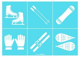 Collection d'icônes d'équipement de neige vecteur