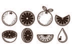 Ensemble d'icônes de fruits clémentine vecteur
