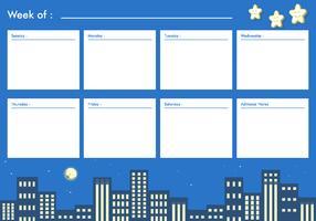 Nuit vecteur imprimable hebdomadaire calendrier vecteur libre