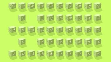 Cube lettres japonaises vecteur libre
