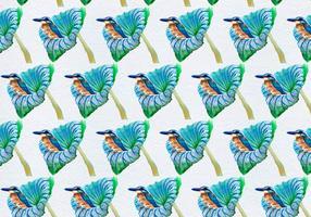 Oiseaux de vecteur libre sur fleur Seamless Pattern