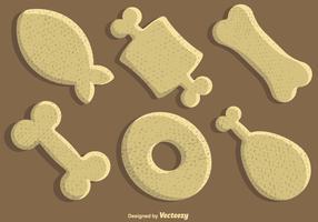 Jeu d'icônes vectorielles chien biscuit vecteur