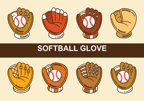 Vecteurs de gants de softball vecteur