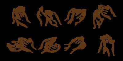 Mains dessinées à la main