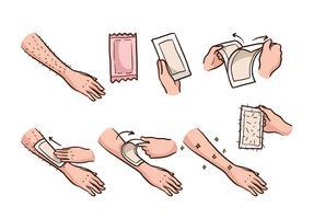 Étape de cire de bras vecteur