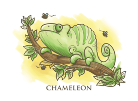 Illustration de dessin animé caméléon vecteur