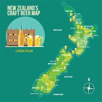 Carte de la bière artisanale de Nouvelle-Zélande vecteur
