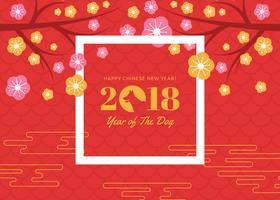 Nouvel an chinois gratuit du fond de vecteur de chien