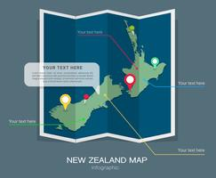 Infographie de carte de vecteur de Nouvelle-Zélande