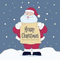 Caractère mignon Santa tenant signe avec le message de Noël