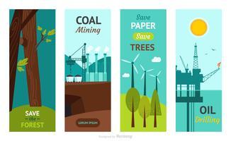 Bannières de vecteur vertical plat de ressources naturelles