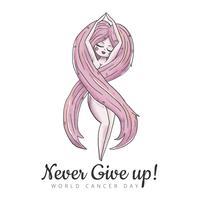 Femme mignonne avec la forme de ruban de cancer des cheveux