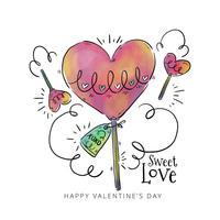 Coeur mignon de sucette avec des ornements à la Saint-Valentin