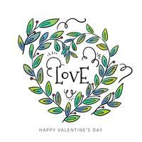 Feuilles mignonnes avec forme de coeur pour la Saint-Valentin vecteur