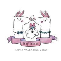 Couple mignon Llama s'embrasser avec des rubans et citation