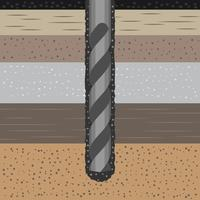 Concept de géomécanique avec forage de foreuse de la terre et illustration de sol vecteur