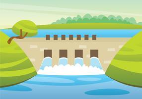 Illustration de la centrale hydroélectrique vecteur
