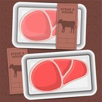 Boeuf, viande, emballage, steak, illustration