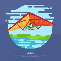Homme libre sur Hang-Glider Vector Illustration