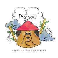 Chien chinois avec un chapeau chinois avec du bambou et des nuages