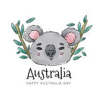 Koala avec du bambou et des feuilles au jour de l'Australie vecteur