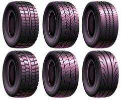 Jeu de pneus pneumatiques réalistes de vecteur