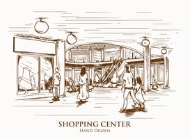 Illustration de centre commercial dessinés à la main vecteur