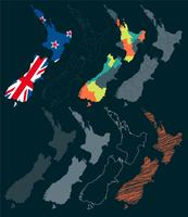 Ensemble de vecteur d'illustrations de carte de Nouvelle-Zélande