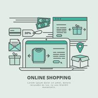 Illustration de magasinage en ligne de vecteur