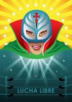 Affiche de lutteur mexicain vecteur