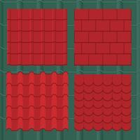 Collection de tuiles de toit de bardeaux et de profils vecteur
