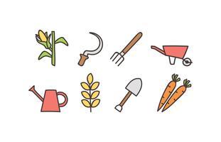 Jeu d'icônes de doodle agriculture