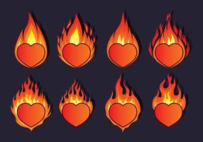Icônes de coeur enflammé vecteur