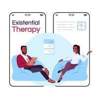 smartphone de dessin animé de thérapie existentielle vecteur