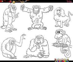 dessin animé, singes, et, singes, caractères, ensemble