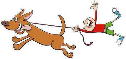 chien tirer enfant en laisse dessin animé