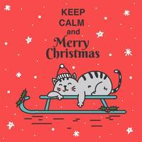Gardez le calme et joyeux vecteur de Noël