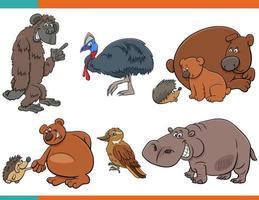 jeu de personnages animaux drôles de dessin animé vecteur
