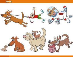 ensemble de personnages animaux chiens et chiots de dessin animé vecteur