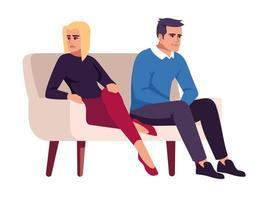 couple sur le canapé. les gens sur le canapé. conflit conjugal. vecteur