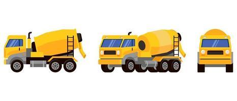 camion malaxeur à béton sous différents angles vecteur