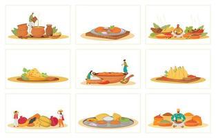 plats traditionnels indiens vecteur
