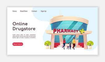 page de destination de la pharmacie en ligne vecteur