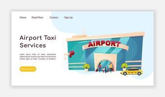 page de destination des services de taxi d'aéroport vecteur