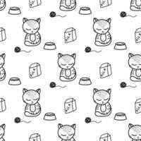 modèle sans couture de chat mignon dans un style doodle vecteur