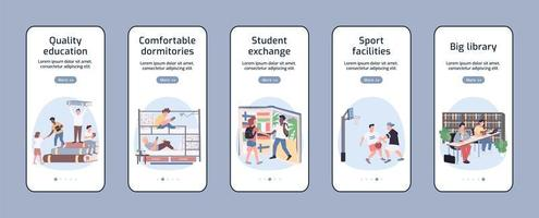 écrans d'applications mobiles d'intégration du mode de vie des étudiants