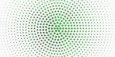 fond vert clair avec des étoiles colorées.